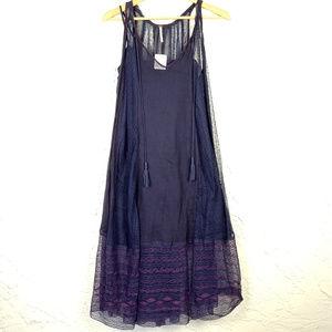 Free People Embroidered Midi Slip Dress